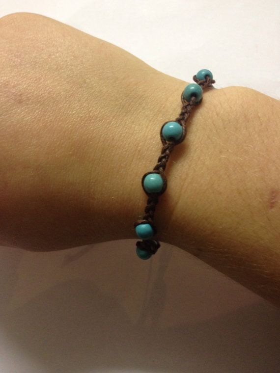 Aqua beaded wax cotton friendship bracelet by Jameesbitsandbobs
