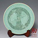 Celadón esmalte de porcelana verde diseño de los pescados de la cerámica de cerámica Pastel dulce para servir comida Plate