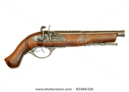 Flintlock pistol isolated on white background