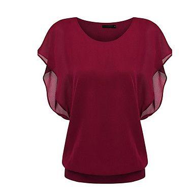 Mulheres+Blusa+Happy-Hour+Simples+/+Boho+Verão,Sólido+Azul+/+Vermelho+/+Preto+Poliéster+Decote+Redondo+Manga+Curta+Fina+–+BRL+R$+114,14