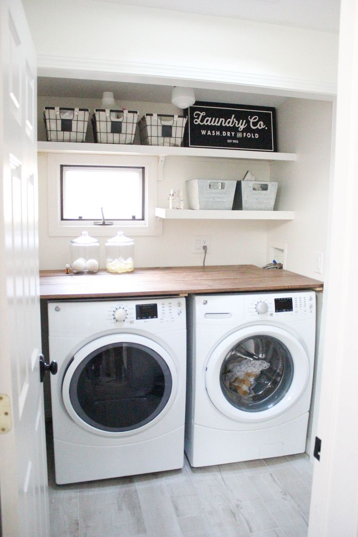 A budget-friendly farmhouse laundry room that's small, yet makes a large impact. The space is not only pretty, but functional for your laundry needs! @geappliances #ad