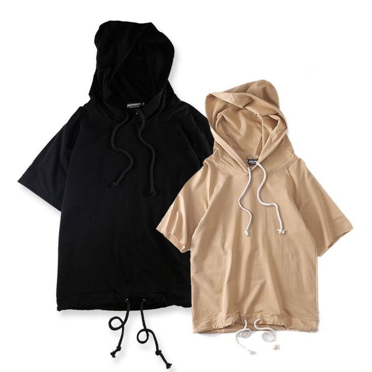 Off Shoulder Solid Color Hip Hop Sweatshirts and Hoodies Short Sleeve Loose Style Drawstring Blank Hoodie for Men Black ,Khaki