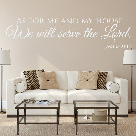 These Christian wall decals read As for me and my house, we will serve the Lord - Joshua 24:15. It is the perfect Christian wall art to have in your home. We love having these scripture quotes up as a reminder of who we serve in this life and in our homes. Our scripture wall decals will look great in your living room, foyer, hallway, above your fireplace or among photos on your wall.  Our wall decals and quotes are made from high quality matte vinyl. There are no backgrounds so once…