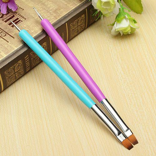 Hohe Qualität Heißer Verkauf NEUE 2-Ways Nail art Pen Malerei punktierung Acryl Uvgelpoliermittel Pinsel Liner Werkzeug 5W4S 7GXO ADOD