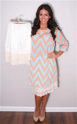 Ivory Lace Skirt Extender, Modest Dresses, Church Dresses, lds, lds clothing, skirt extender, chevron, chevron print, mint, mint chevron, mint chevron dress, peach and mint dress, modesty standards