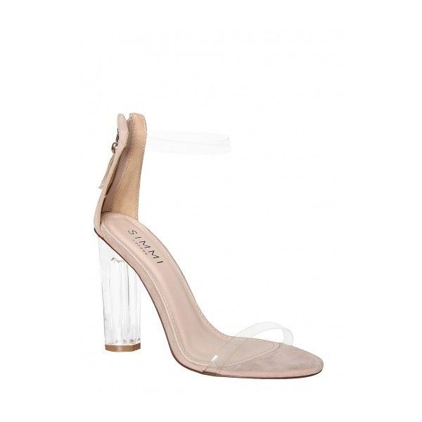 Alora Nude Suede Perspex Barely There Heels : Simmi Shoes ($44) ❤ liked on Polyvore featuring shoes, pumps, nude court shoes, suede leather shoes, clear-heel shoes, color block pumps and colorblock shoes