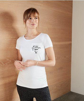 white slogan pocket maternity t-shirt | basic tops & vests | Mothercare