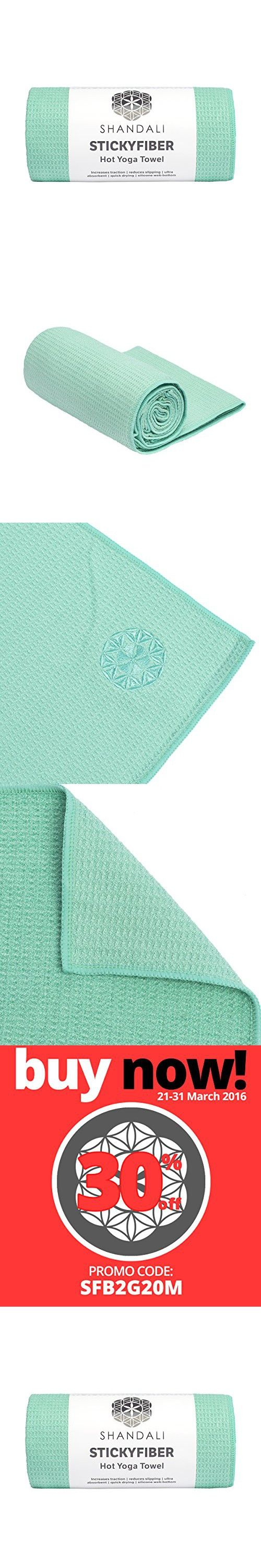 "#1 Rated Hot Yoga Towel - Shandali Stickyfiber Yoga Towel - Mat-Sized, Microfiber, Super Absorbent, Anti-slip, Injury Free, 24"" x 72"" - Best Bikram Yoga Towel - Exercise, Fitness, Pilates, and Yoga Gear; Lifetime Guarantee (Jade Green, Standard)"