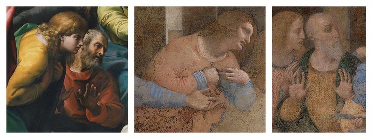 Két apostol Raffaello Transzfigurációján, illetve Leonardo Utolsó vacsorájáról Fülöp tükrözött képe, valamint András figurája
