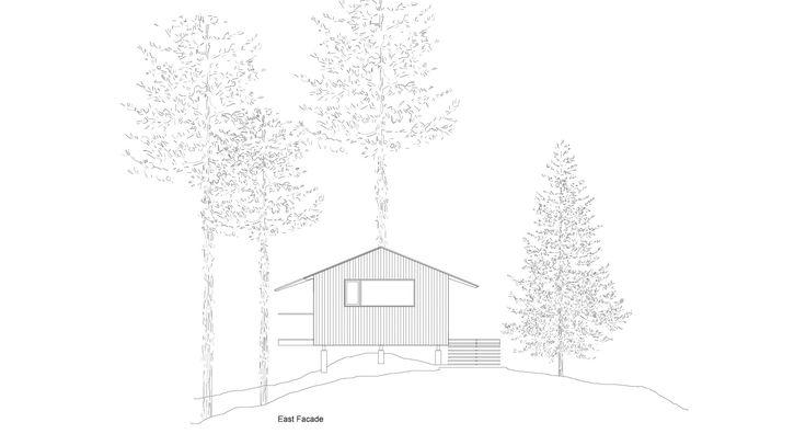 Dibujo arquitectónico de casa de madera