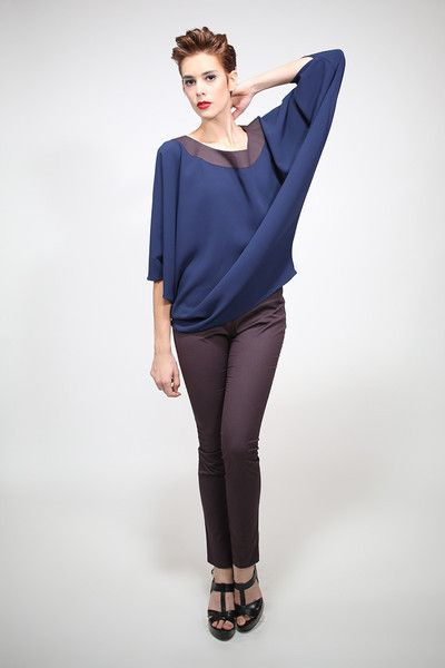Christmas Sale. 1 available - Butterfly tunic in blue silk wool. Handmade in Italy.