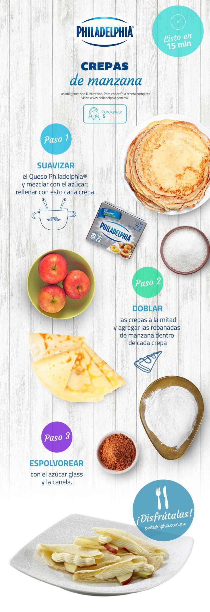 Deliciosa Crepas de manzana hechas con el inigualable sabor de Queso Philadelphia®.