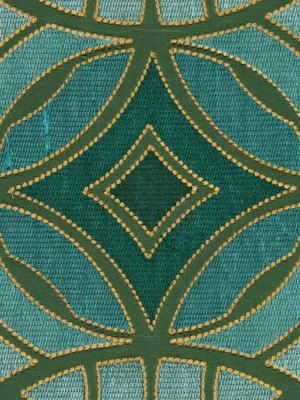 Geometric Teal Embroidered Upholstery Fabric - Aqua Silk ...