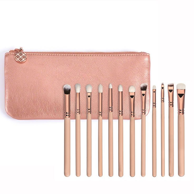 High Quality 12 PCS Rose Golden Complete Eye Set Eyeshadow Eyeliner Blending Pencil Makeup Brushes With Case