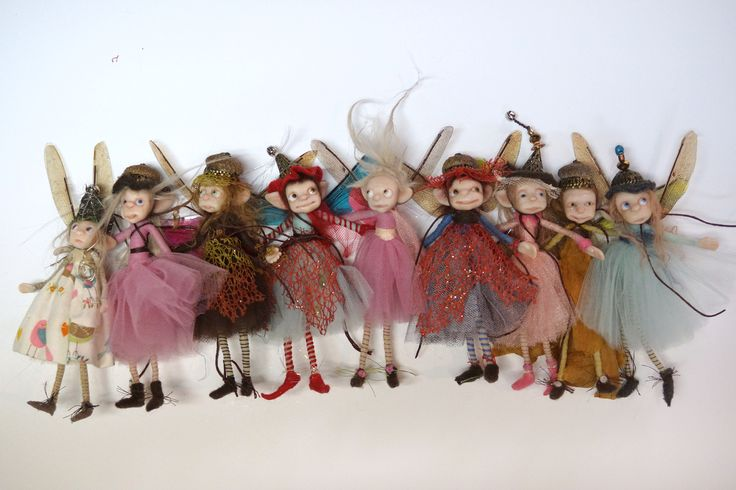 fairy line up ... fairy scene OOAK polymer clay art dolls fairies gnomes and elves by Lindsey ... DinkyDarlings