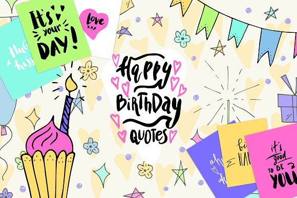 Happy Birthday Cards maker kit by Creativemaker on @creativemarket