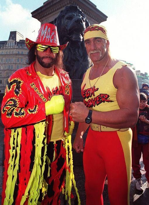 Throwback. Hulk Hogan and Randy Savage