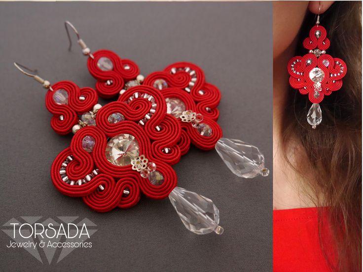 Czerwone kolczyki sutasz marki TORSADA długie wieczorowe soutache cyrkonie swarovski srebrne