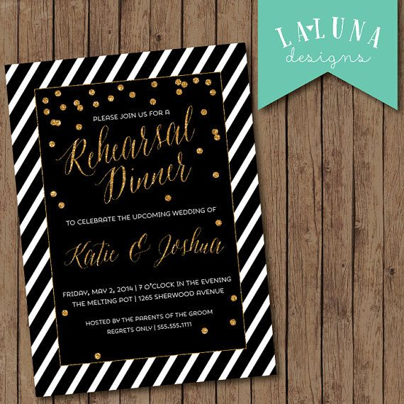 Rehearsal Dinner Invitation, Black & White Stripes, Glitter Confetti Invitation, Engagement Party Invitation