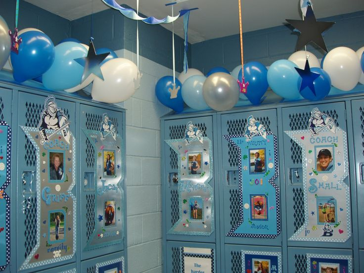 Volleyball locker posters. Add some balloons on top and hang stuff from the ceiling. Use 1/2 of a piece of poster board for just a rectangle, or shape out a letter.