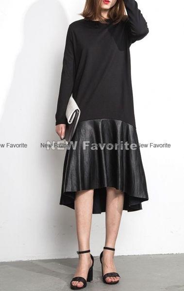 Черное платье с воланом на юбке