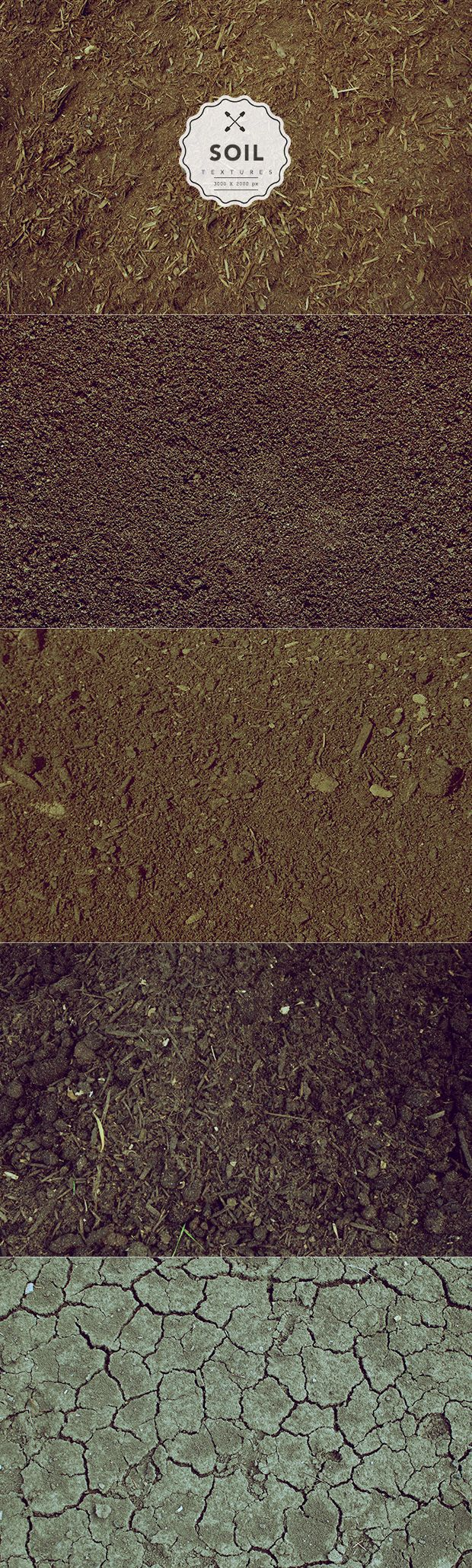 Soil textures are not so popular among graphic designers, so today's freebie is a small set of 5 highly detailed and high resolution soil textures for use within your next project.
