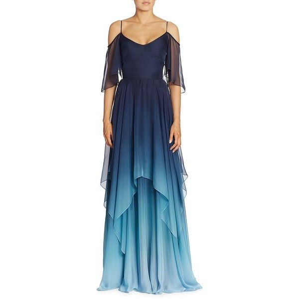 Theia Cold-Shoulder Ombré Chiffon Gown ($995) ❤ liked on Polyvore featuring dresses, gowns, blue evening dresses, cut out shoulder dress, spaghetti strap dress, ombre dresses and cutout dresses
