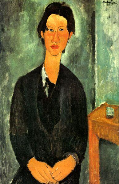 Ressam: Amedeo Modigliani (1884-1920)  Resmin Adi: Chaim Soutine (1917)  Nerede: National Gallery of Art, Washington, ABD  Boyutu: 91,7cm x 59.7cm  Modigliani sadecekadınların portresini yapmıyordu elbette. Soyut dışavurumcu ressamChaimSoutine ile çok yakın arkadaşlardı. O dönemlerde, kimsenin anlamadığı sanatlarını icra ederken, birbirlerine destek oldular, birbirlerini yüreklendirdiler.Modigliani,Soutine'in bir çok portresini yaptı, hatta hızını alama