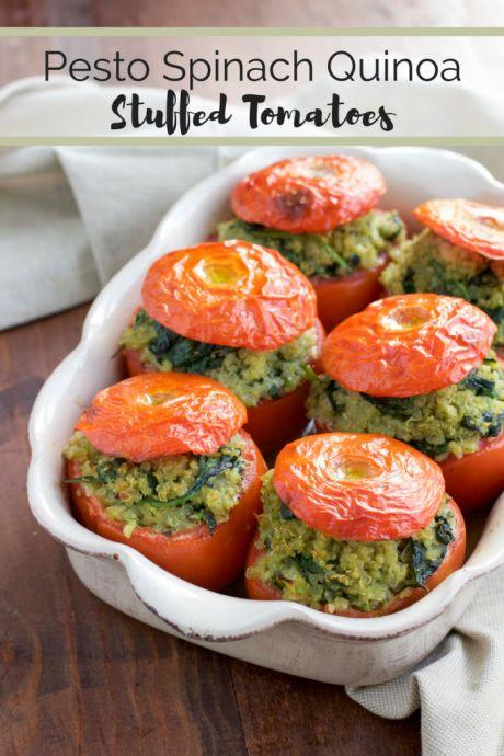 easy healthy vegan dinners: Pesto Spinach Quinoa Stuffed Tomatoes: http://thegreenloot.com/easy-healthy-vegan-dinners/
