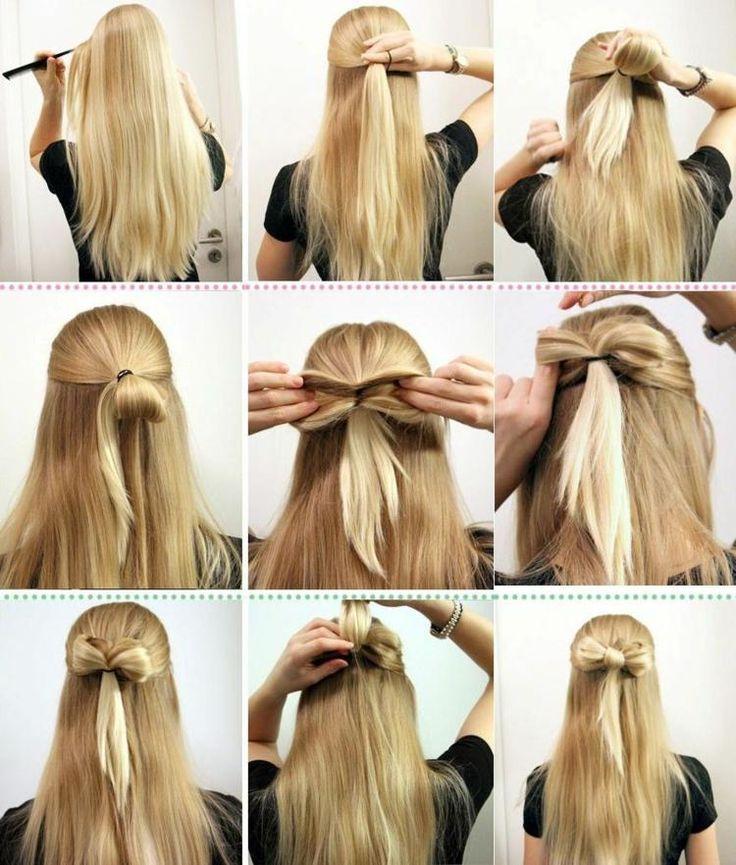 Schnell und einfach aus den Haaren eine Schleife für eine halboffene Frisur ges