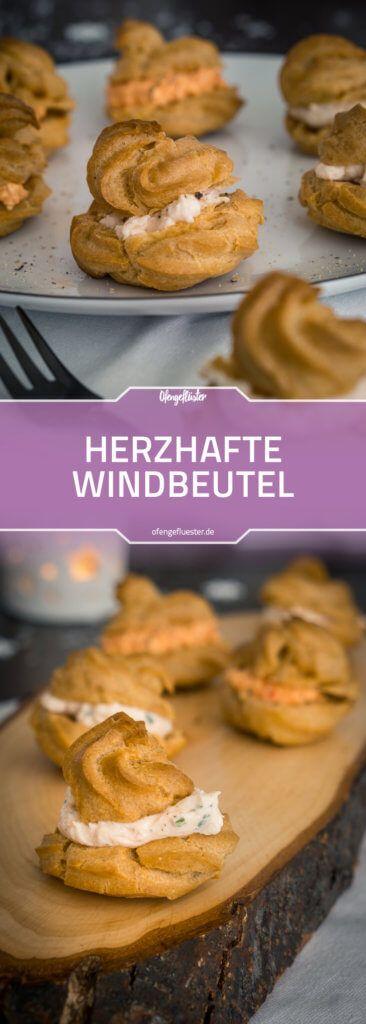 Rezept für herzhafte Windbeutel mit Räucherlachs-Frischkäse-Creme und Paprika-Feta-Creme #fingerfood #brandteig #rezept