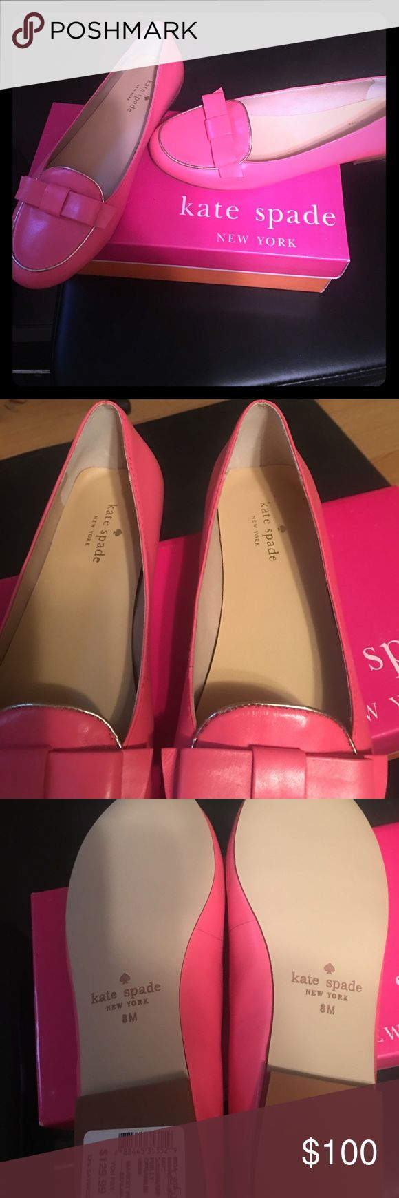 Kate spade flats Size 8 Kate spade flats. Pink with gold trim. Bows on the front. 1 /4 inch heel. Brand new in box, purchased on sale for 129.99. kate spade Shoes Flats & Loafers