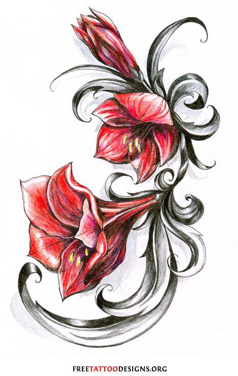 Red Flower Tattoo Jpg 468 740