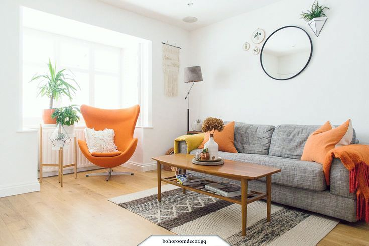 White Gray And Orange Living Room Boho Mid Century Style Home