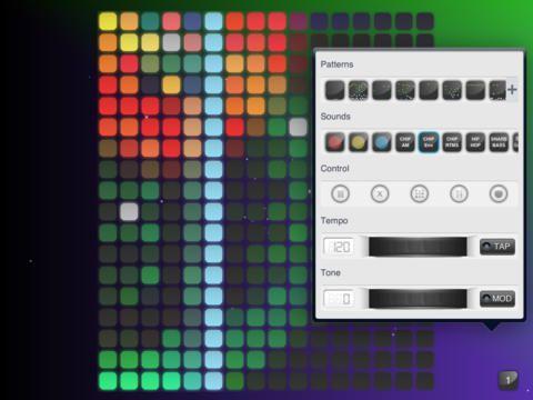 Skapa musik i ljudslingar med beat, med färg och puls genom att interagera med fingret på skärmen.