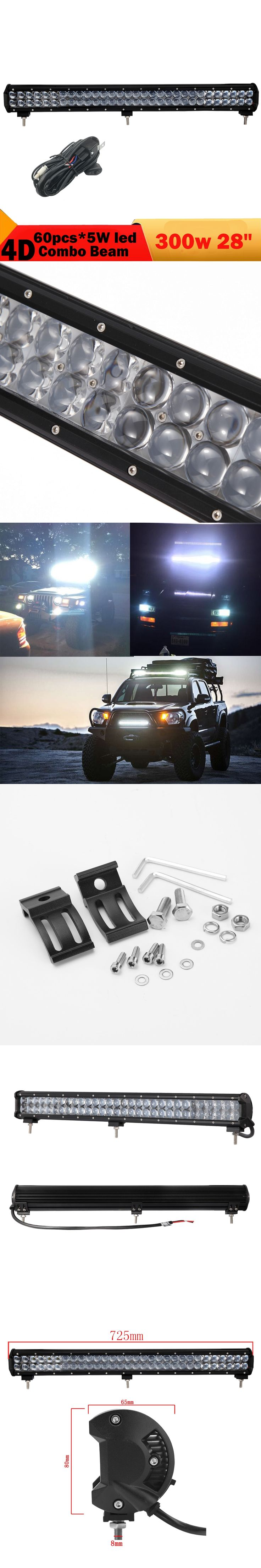 4D 300W Waterproof Offroad Led Light Bar  28 Inch DRL Headlight Driving Fog Lamp For Jeep Toyota Audi Nissan SUV  12V 24V 3000LM