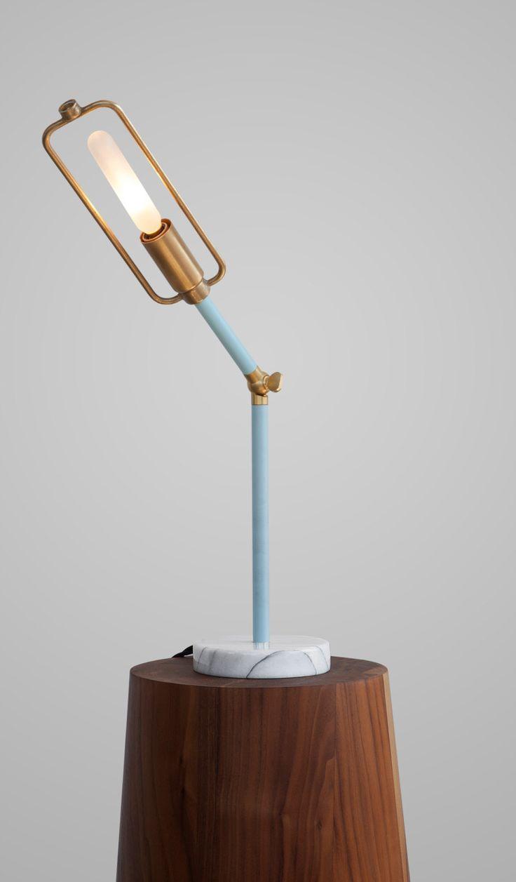 Brass Flexible Desk Lamp w/ Marble Base /
