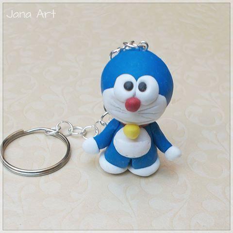 Doraemon, fimo, and keyring find me on facebook at facebook.com/artelien