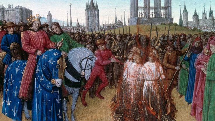 Im Beisein des französischen Königs werden Ketzer verbrannt
