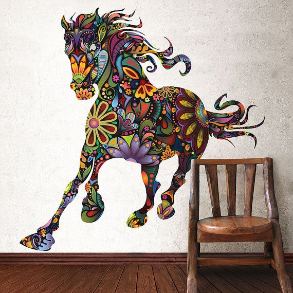 Horse Wall GraphicWall Decal Sticker for Equestrian Wall Decor - Colorful Floral Horse