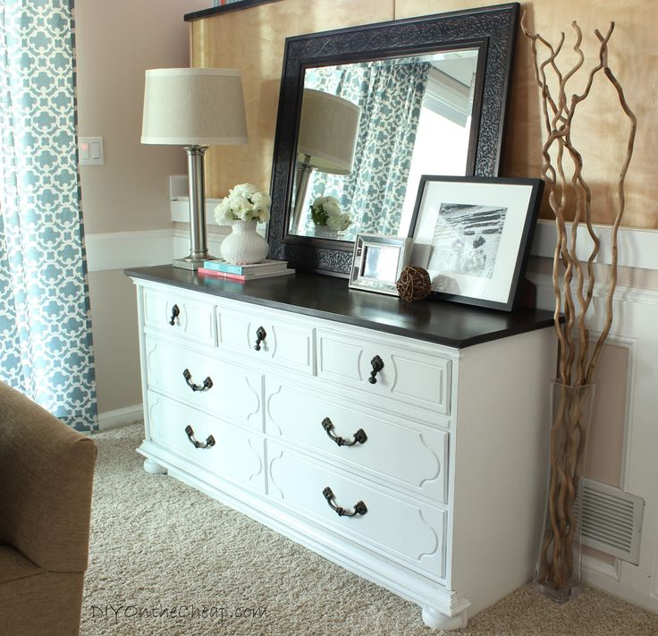 Duh why not do white with a black or gray tops???? Styled Dresser via DIYOntheCheap.com