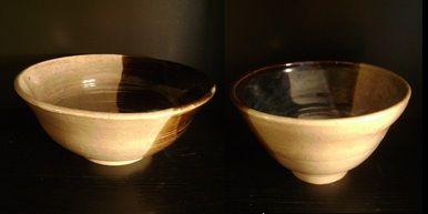 Tamara S Gordon Ceramics. Brown, Tan & baby blue bowls-set of 2