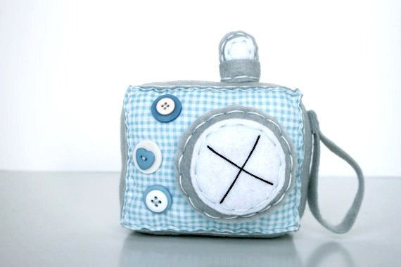 This listing is for one adorable hand sewn Felt and Fabric Camera Plush.    These Plush Cameras are made of felt, along with New and Vintage