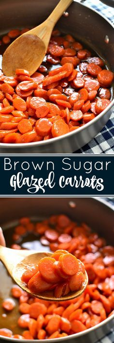 These Brown Sugar-Glazed Carrots take carrots to a whole new level! Made with just 4 delicious ingredients, they come together quickly and make the perfect holiday side dish! #holidayhosting @anolon