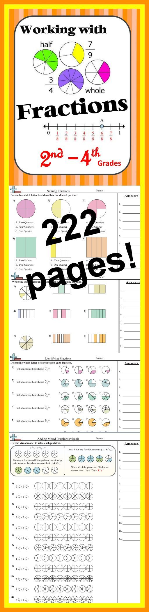 Math DOWNLOAD: Working with Fractions (222 pages!) This large download provides plenty of fraction practice for #2ndgrade #3rdgrade #4thgrade...Including: naming, creating, comparing fractions and more!