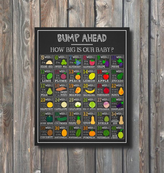 PRINTABLE How Big Is Baby Chalkboard Baby Growth Chart Baby Size Week By  Week Baby Comparison To Fruits 1 Baby Size Sign Pregnancy Sign