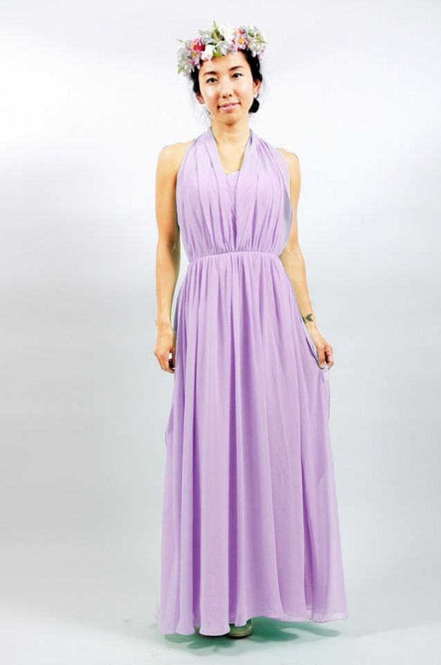 ロングブライズメイドドレス ラベンダー - ブライズメイドドレスのamika -アミカ