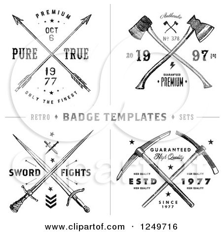 Clipart of vintage arrow axe and sword label designs with for Crossed swords tattoo