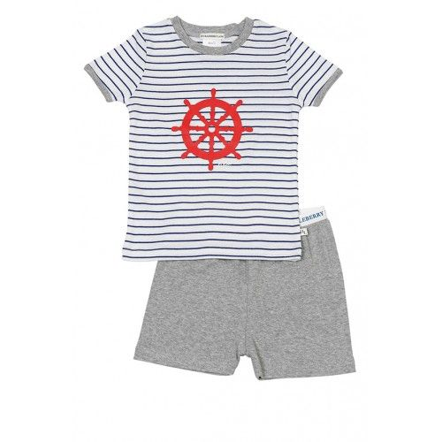 let your little captain dream of helming his own ship in these handsome summer pyjamas from huckleberry lanethe top features a redsailing wheel on white and blue stripes with grey contrast trim at the neck and sleeves, and the pyjama shorts in grey marle have an elastic waistbandmade from 100% cotton $42.95