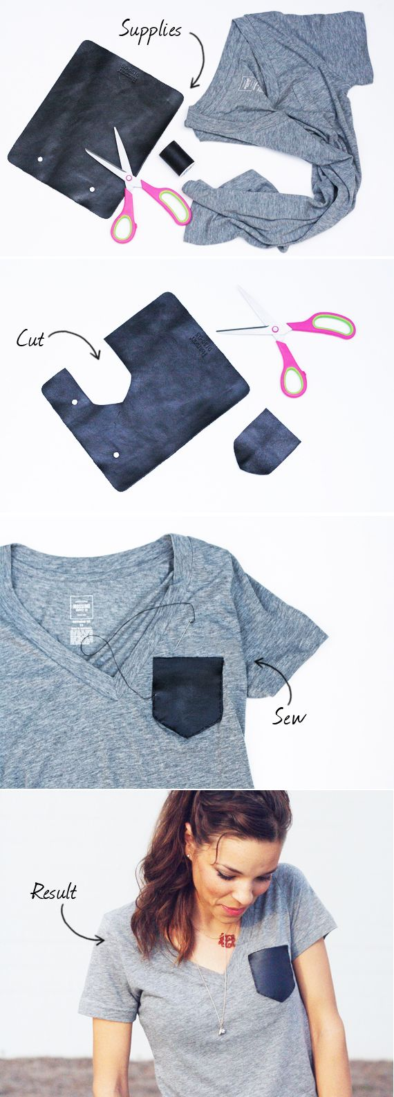 diy leather pocket tee - camiseta con bolsillo de algodon